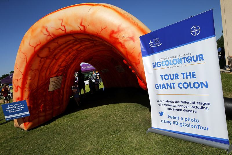In this file photo, Colon Cancer Alliance and Bayer bring the #BigColonTour to the Colon Cancer Coalition's Get Your Rear In Gear 5k Run/Walk event, on  in Baton Rouge, La. (Jonathan Bachman/AP)
