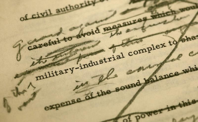 A draft of President Dwight D. Eisenhower's farewell address shows changes made around a reference to the military industrial complex, in December 2010 at the Eisenhower Presidential Library in Abilene, Kan. (Charlie Riedel/AP)