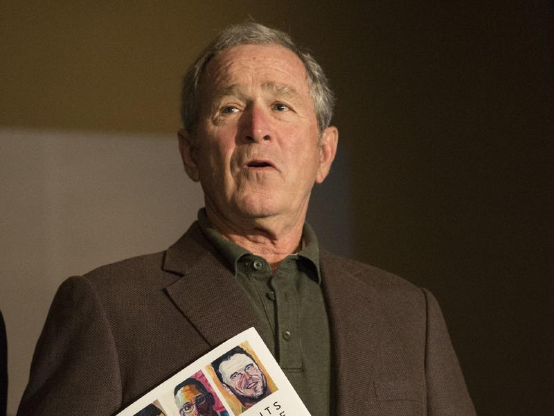 Former President George W. Bush holds an event at his presidential library and museum in Dallas on Feb. 28 for his exhibit of veterans portraits. In interviews about his artwork, Bush has been commenting on the current administration.
