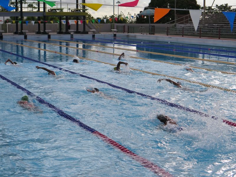 At the Germán Rieckehoff Olympic Village in Salinas, Puerto Rico young athletes train in this swimming pool.
