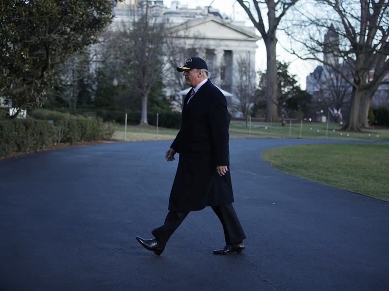 President Trump walks on the South Lawn of the White House on Thursday. In the same week as his address to Congress, Trump faced a new controversy — over his attorney general's contacts with the Russian ambassador to the U.S.