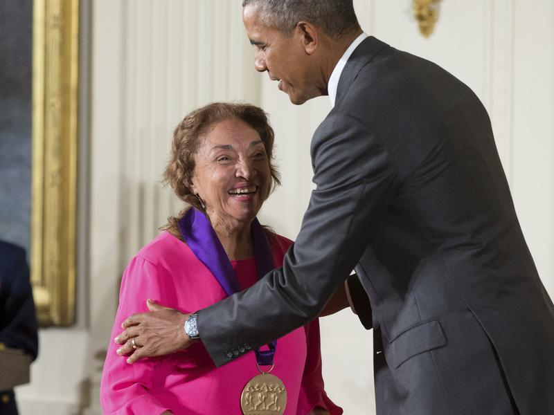 Then-President Obama awards the National Medal of Arts to actress, theater founder and director Miriam Colon in September 2015.