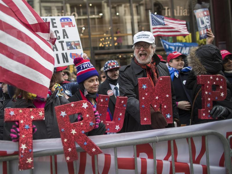 Supporters of President Trump chant slogans during a Saturday rally on Fifth Avenue near Trump tower in New York City.
