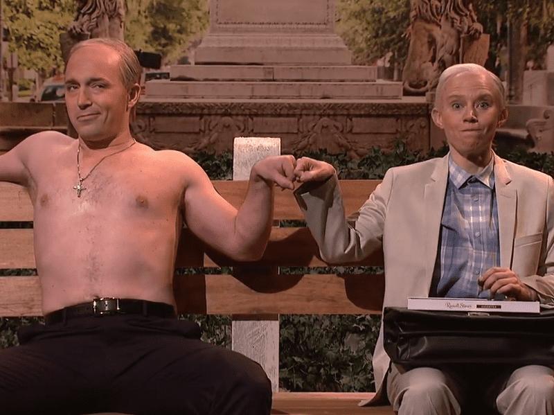 Beck Bennett as Vladimir Putin and Kate McKinnon as Jeff Sessions on <em>Saturday Night Live</em> on<em> </em>March 4.