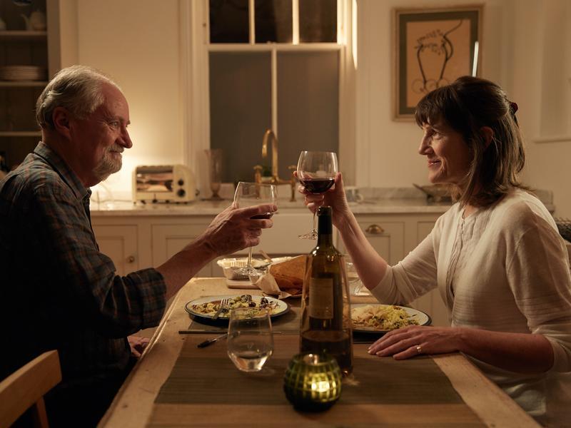 To Denial!: Tony (Jim Broadbentt) and Margaret (Harriet Walter) in <em>The Sense of an Ending.</em>