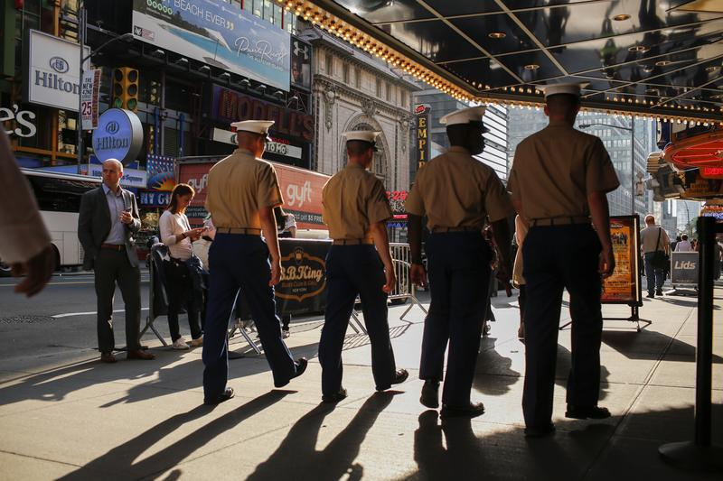 Marines walk around Times Square during Fleet Week in May 2016 in New York. (Eduardo Munoz Alvarez/Getty Images)