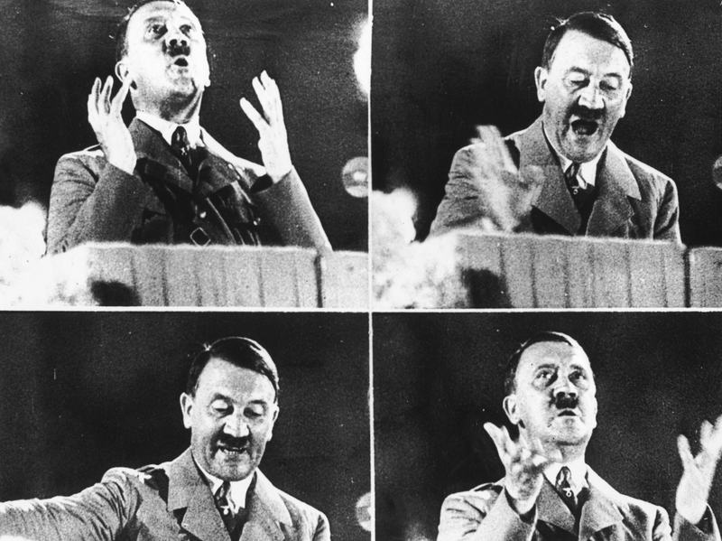 "German dictator Adolf Hitler gives a speech in October 1944. Author Norman Ohler says that Hitler's abuse of drugs increased ""significantly"" from the fall of 1941 until the winter of 1944."