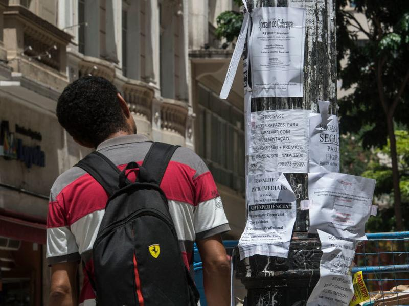 A man reads job advertisements in January 2017, in downtown Sao Paulo. Brazil is facing an unemployment crisis.