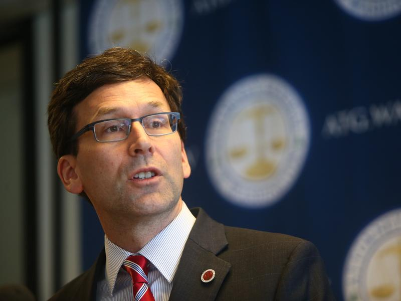 Washington state Attorney General Bob Ferguson holds a news conference Monday in Seattle to discuss President Trump's new immigration executive order.