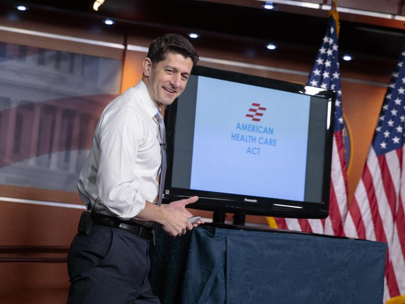 House Speaker Paul Ryan uses charts and graphs to make his case for the GOP's plan to repeal and replace the Affordable Care Act on Capitol Hill on Thursday.