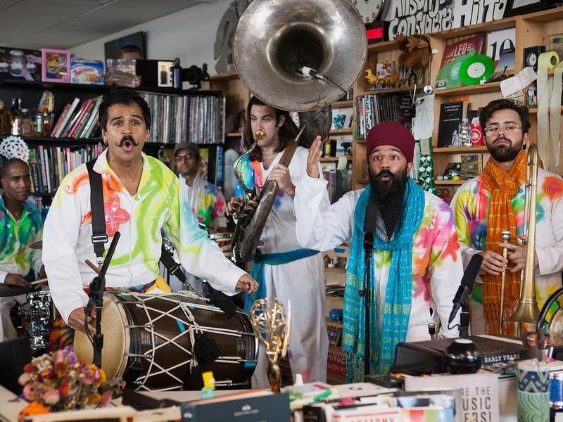Red Baraat performs at Tiny Desk Concert on Feb. 8, 2017. (Marian Carrasquero/NPR)