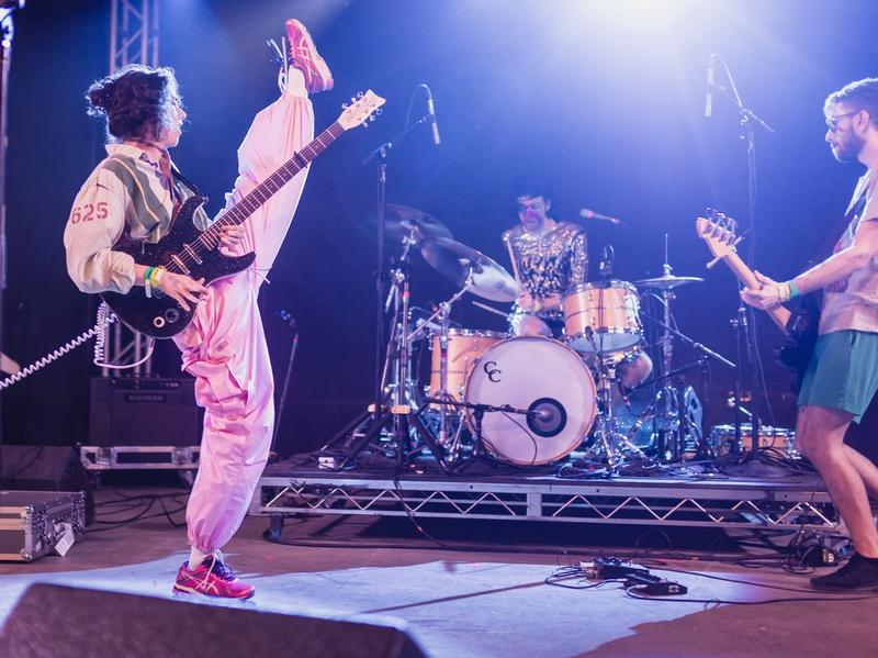 Fear not a high kick. PWR BTTM perform during NPR Music's annual SXSW showcase at Stubb's in Austin, Texas.
