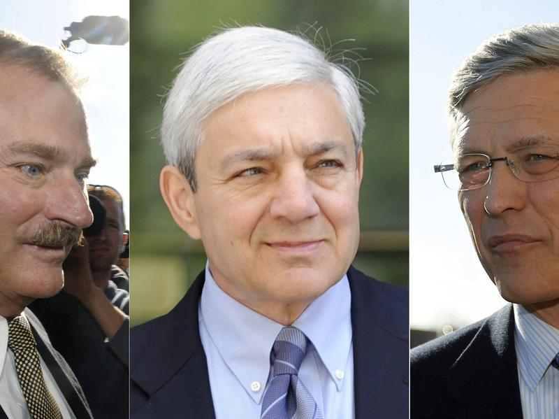 (Left to right) Former Vice President Gary Schultz, former President Graham Spanier and former Athletic Director Tim Curley of Penn State. Now that Schultz and Curley have pleaded guilty, Spanier remains the sole defendant in the Jerry Sandusky cover-up case.