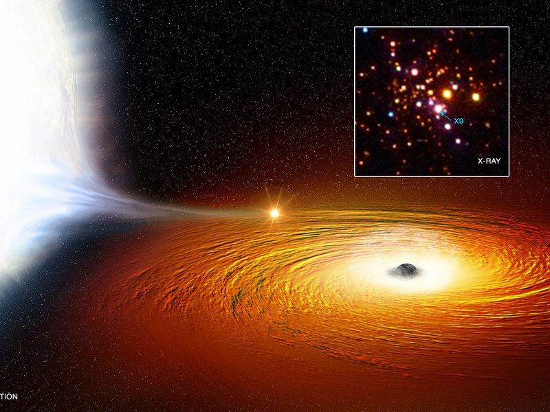 An artist's impression of a white dwarf in an extremely close orbit around what's believed to be a black hole. The star is so close that much of its material is being pulled away.