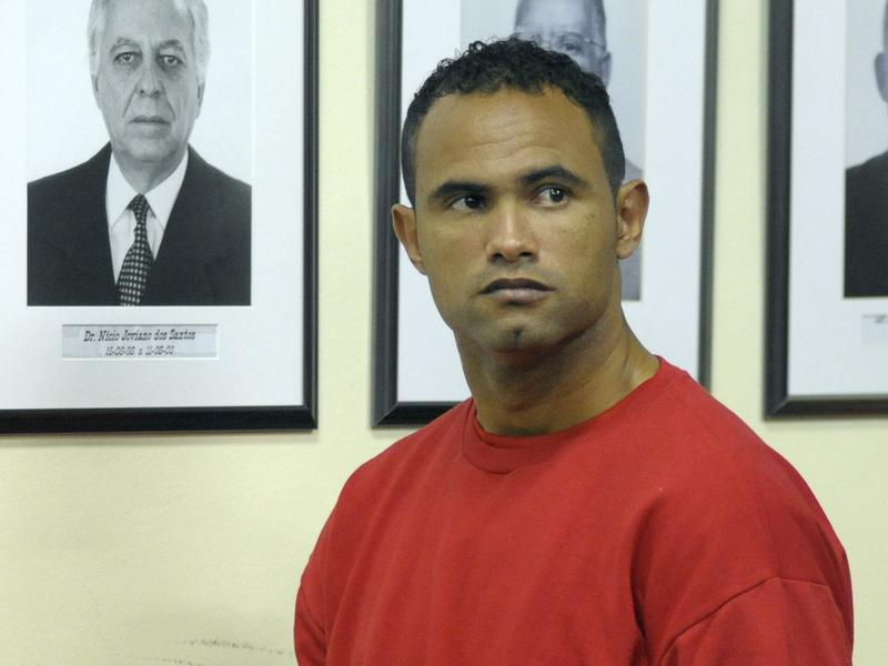 Former star goalie Bruno Fernandes de Souza, shown in 2012 at his murder trial in Contagem, Brazil, was convicted of ordering his ex-girlfriend's death. He was recently released on a technicality and has been signed by another professional soccer team.