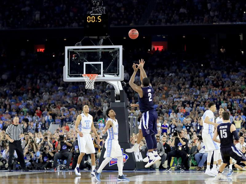 Kris Jenkins (2) of the Villanova Wildcats shoots the game-winning 3-pointer to defeat the North Carolina Tar Heels 77-74 in the 2016 NCAA Men's Final Four National Championship game at NRG Stadium in Houston.