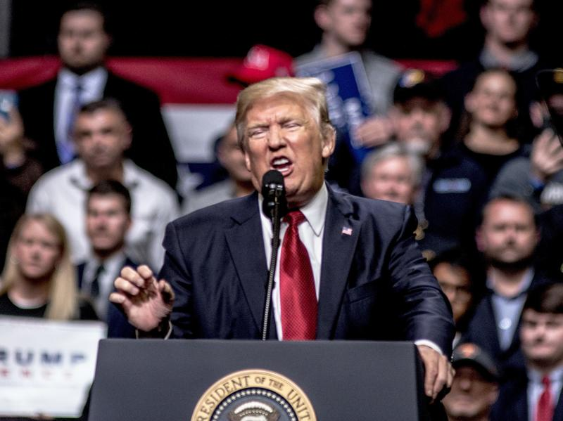 President Trump speaks at a rally in Nashville, Tenn., Wednesday. During the speech, he criticized a court that blocked his new travel executive order. And that, lawyers say, could be a problem for him.
