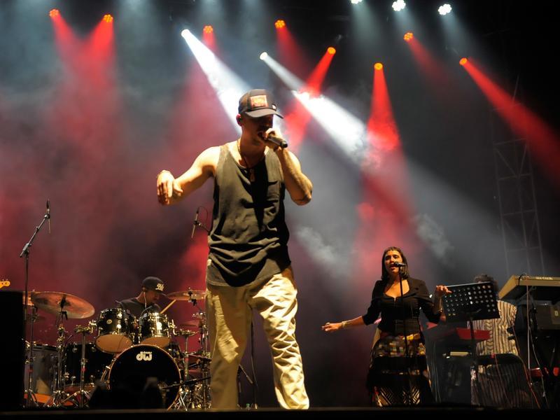 René Pérez Joglar, also known as Residente, performs onstage at the SXSW Outdoor Stage at Lady Bird Lake.