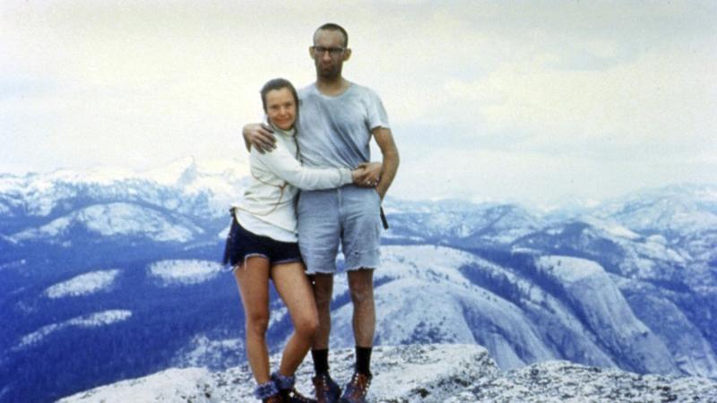 In this June, 1967 photo provided by the family of Royal Robbins, Liz and Royal Robbins are seen at the summit of Half Dome after Liz became the world's first woman to climb it. Royal Robbins, who founded the outdoor clothing company bearing his name, has died after a long illness, he was 82. (Robbins Family via AP)