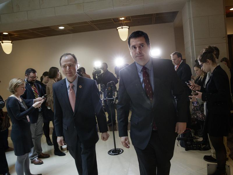 House Intelligence Committee Chairman Rep. Devin Nunes, R-Calif. (right), and the committee's ranking member Rep. Adam Schiff, D-Calif., depart after a briefing with FBI Director Jim Comey about Russian influence on the American presidential election earlier this month