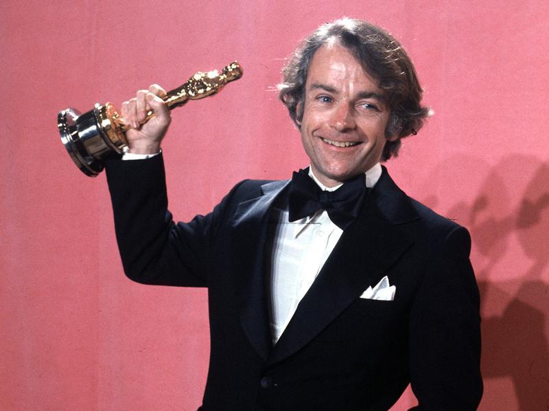 John Avildsen shows off the best director Oscar he won in 1977 for <em>Rocky</em>. Avildsen, who also directed <em>The Karate Kid</em>, died Friday from pancreatic cancer at age 81 in Los Angeles.