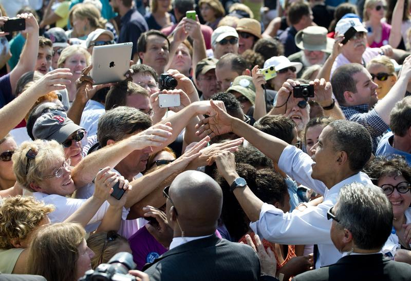 President Obama greets New Hampshire voters at a rally in Portsmouth in September 2012.