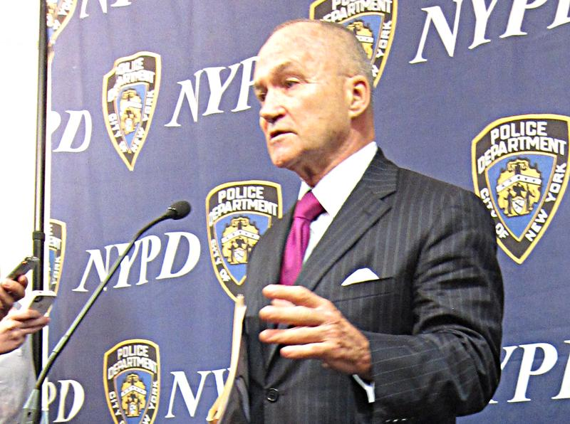 Police Commissioner Ray Kelly speaks after a promotions ceremony.