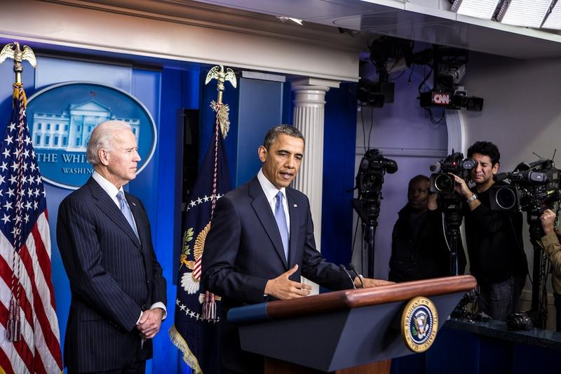 President Obama makes a statement alongside Vice President Biden.