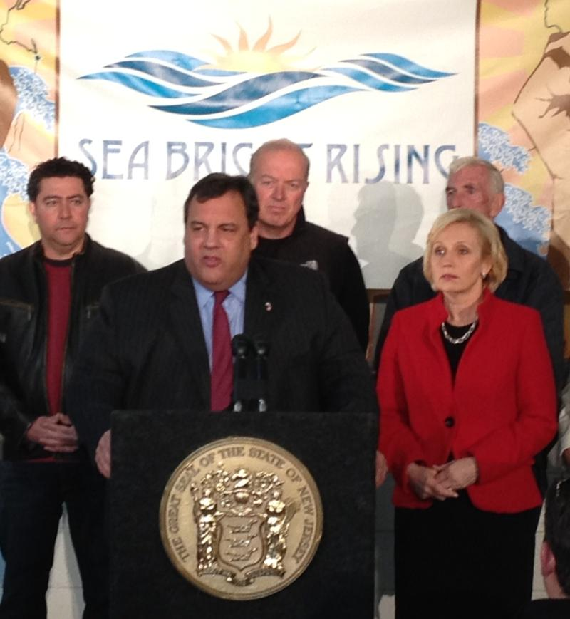 NJ Governor Chris Christie and Lt. Gov. Kim Guadagno speak in Seabright, NJ about aid to small business owners affected by Sandy