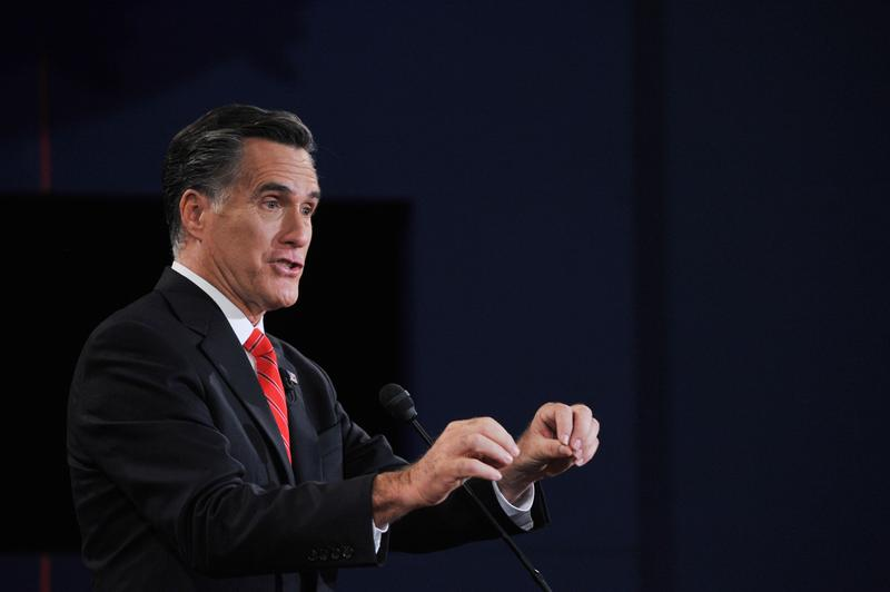 Mitt Romney speaks during a debate with Pres. Barack Obama in 2012.