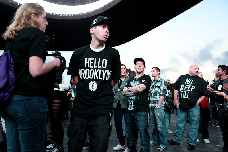 Fans of Jay-Z gather outside the Barclays Center on opening night.