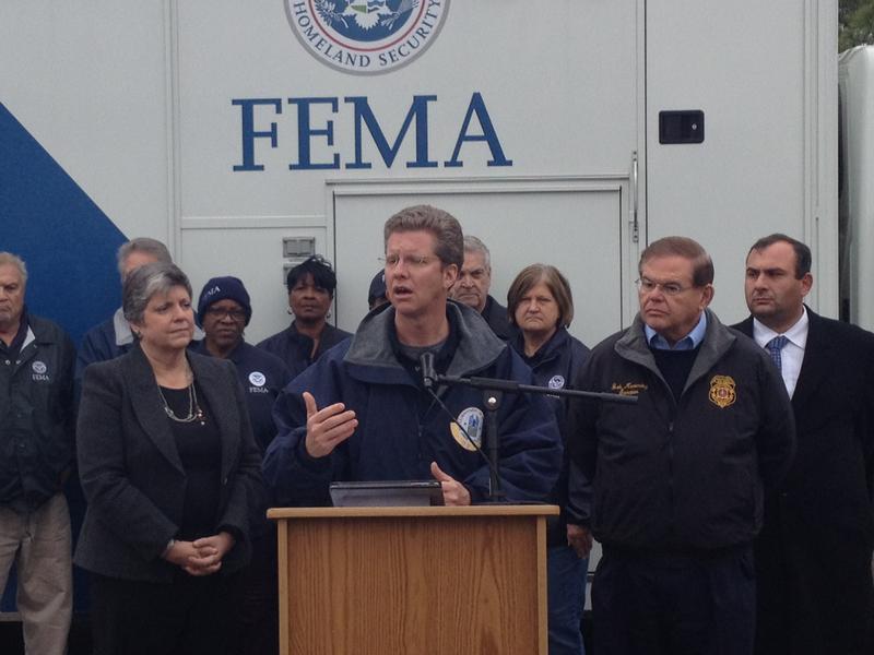 HUD Secretary Shaun Donovan describes the federal response to Sandy rebuilding in Monmouth County, New Jersey, on November 16, 2012.