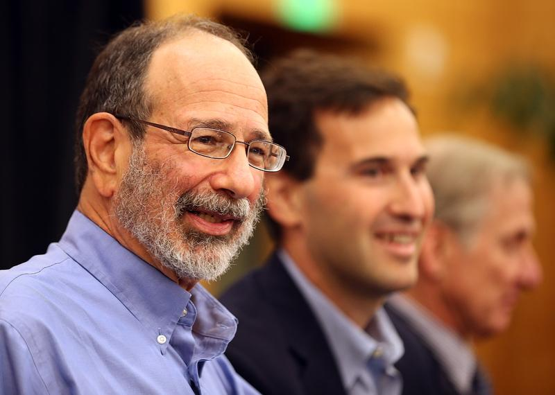 Alvin Roth looks on during a press conference announcing his Nobel Prize in economics on October 15, 2012 in Stanford, California.