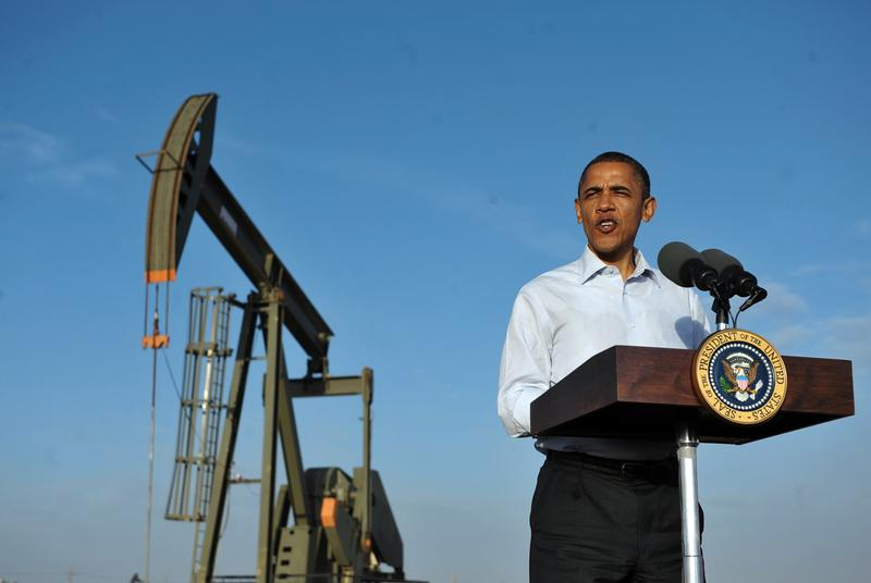 Barack Obama speaks at an oil and gas production fields on federal lands March 21, 2012 near Maljamar, NM.