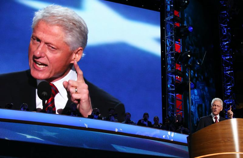 Former U.S. President Bill Clinton speaks on stage during day two of the Democratic National Convention.