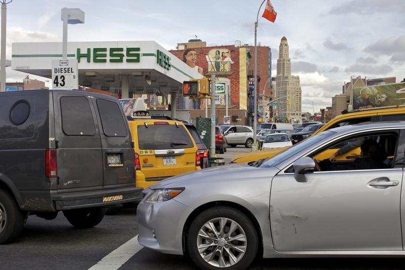 Gas lines began to snarl traffic on 4th Ave. and Union St. in Brooklyn on Thursday. Customers at the Hess station there reported waiting over 2 hours for gas.