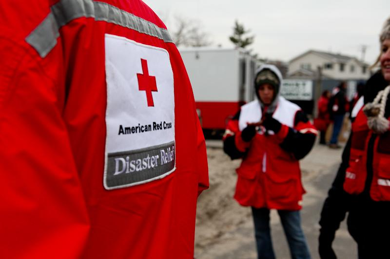Red Cross volunteers in Breezy Point, a month after Hurricane Sandy hit the area.