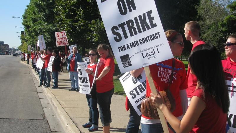 Teachers strike in Chicago over pay, benefits, and unions rights.