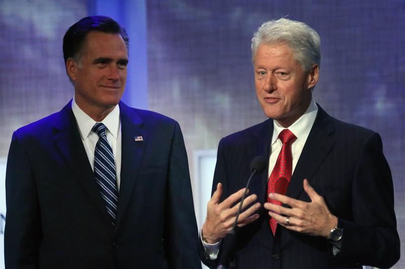Former President Bill Clinton introduces Republican presidential nominee Mitt Romney at the Clinton Global Initiative meeting in New York.