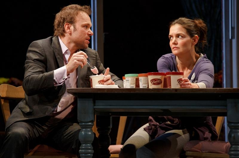 "Norbert Leo Butz as Jack and Katie Holmes as Lorna in ""Dead Accounts,"" by Theresa Rebeck, directed by Jack O'Brien. At Broadway's Music Box Theater."