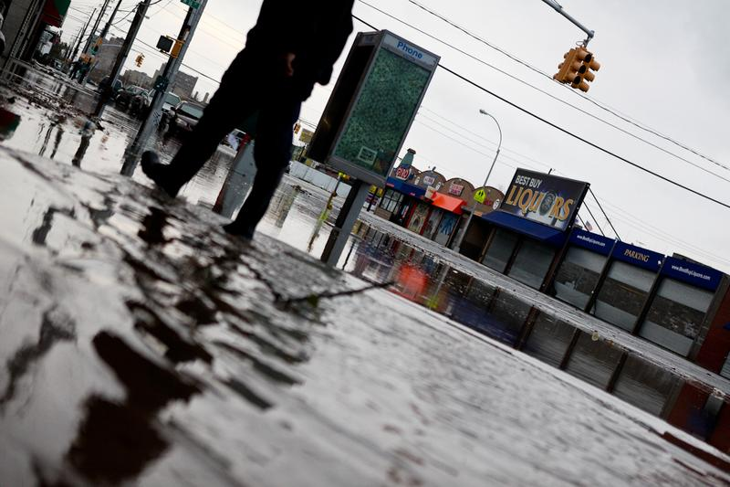 Flooding on Neptune Ave. in Coney Island after Hurricane Sandy hit the area.