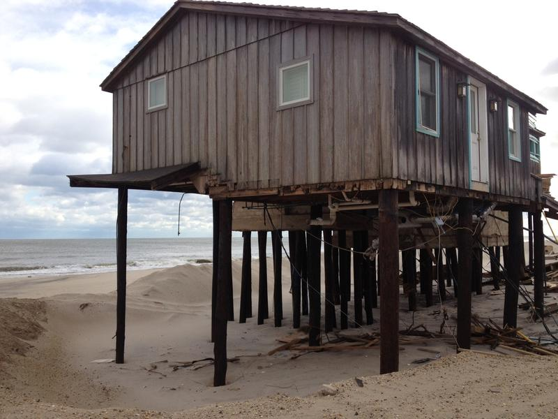 A Mantoloking home built on stilts survived Sandy.  It used to be surrounded by dunes, but all the sand washed away in the storm.