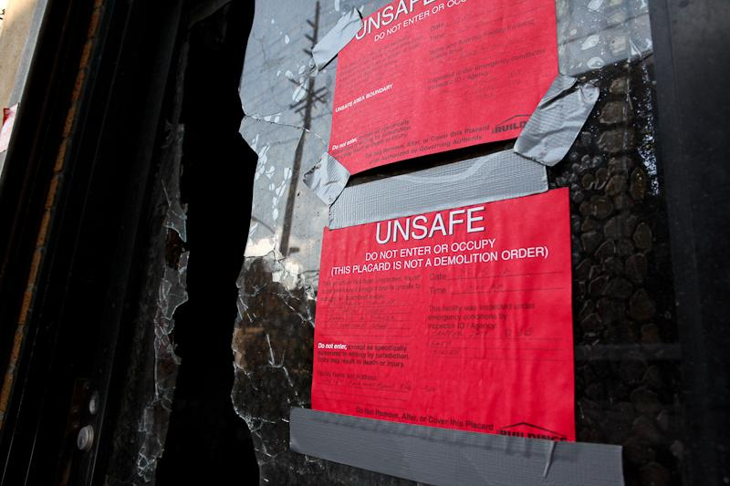 Buildings in the Rockaways deemed unsafe by the city after Hurricane Sandy.