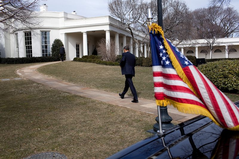 President Obama walks toward the Oval Office in 2010.