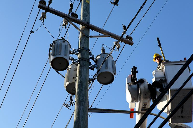 LIPA workers in Far Rockaway trying to restore power after Hurricane Sandy.