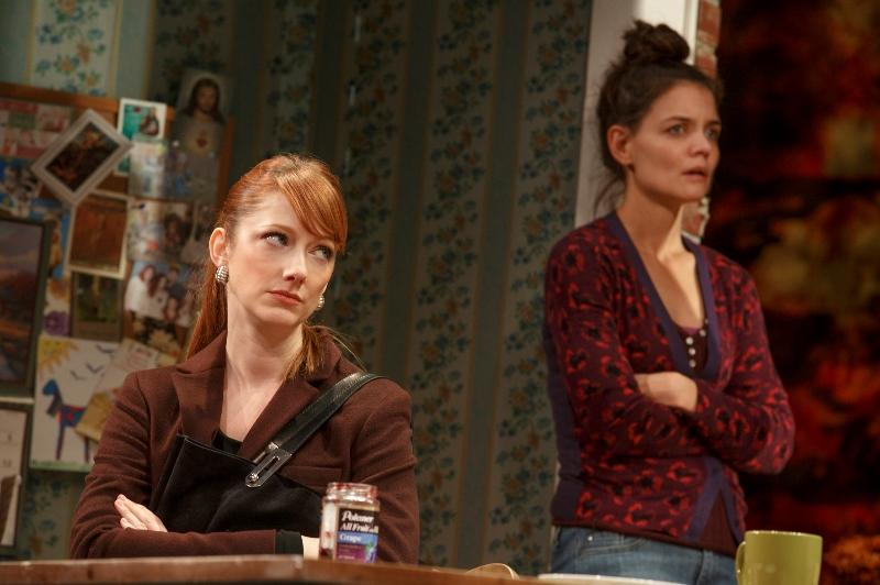 "Judy Greer as Jenny and Katie Holmes as Lorna in ""Dead Accounts,"" by Theresa Rebeck, directed by Jack O'Brien. At Broadway's Music Box Theater."