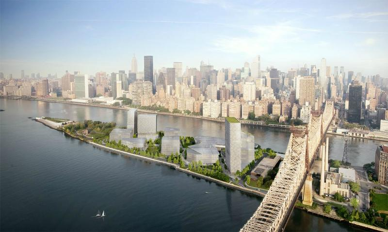 Architectural rendering of the Cornell NYC Tech campus coming to Roosevelt Island in 2017. The school is currently housed at Google's offices in Chelsea.
