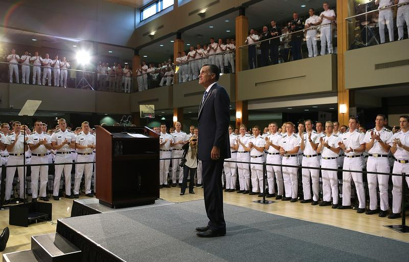 Republican presidential candidate Mitt Romney prepares to deliver a foreign policy speech at the Virginia Military Institute on October 8, 2012 in Lexington, Virginia.