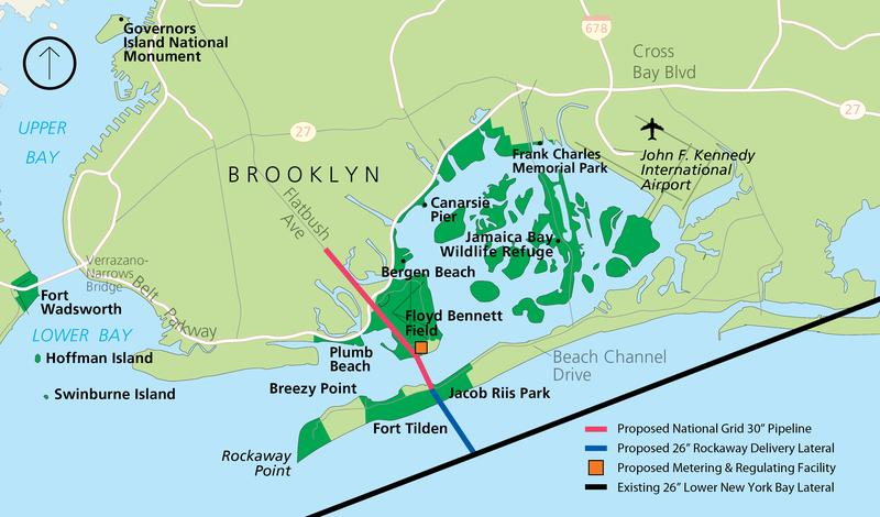 The map shows where the proposed Rockaway Lateral Project pipeline would be built.