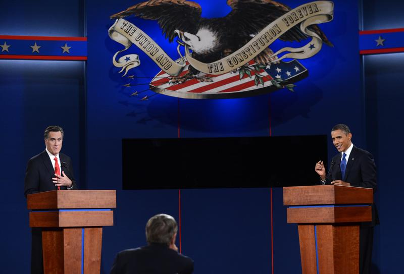 US President Barack Obama (R) and Republican presidential candidate Mitt Romney (L) participate in the first presidential debate at Magness Arena at the University of Denver in Denver, Colorado.